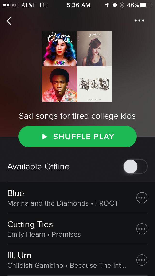 Spotify Playlist #4: Sad songs for tired college kids.