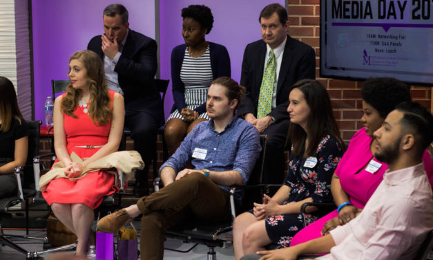 Mass communication students network at Media Day