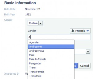 "Clicking ""custom gender"" under the basic information heading gives the user a list of several gender options."