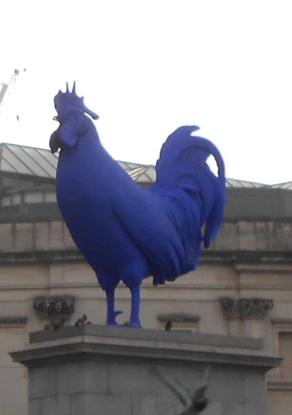 The blue rooster statue currently inhabiting Trafalgar Square.
