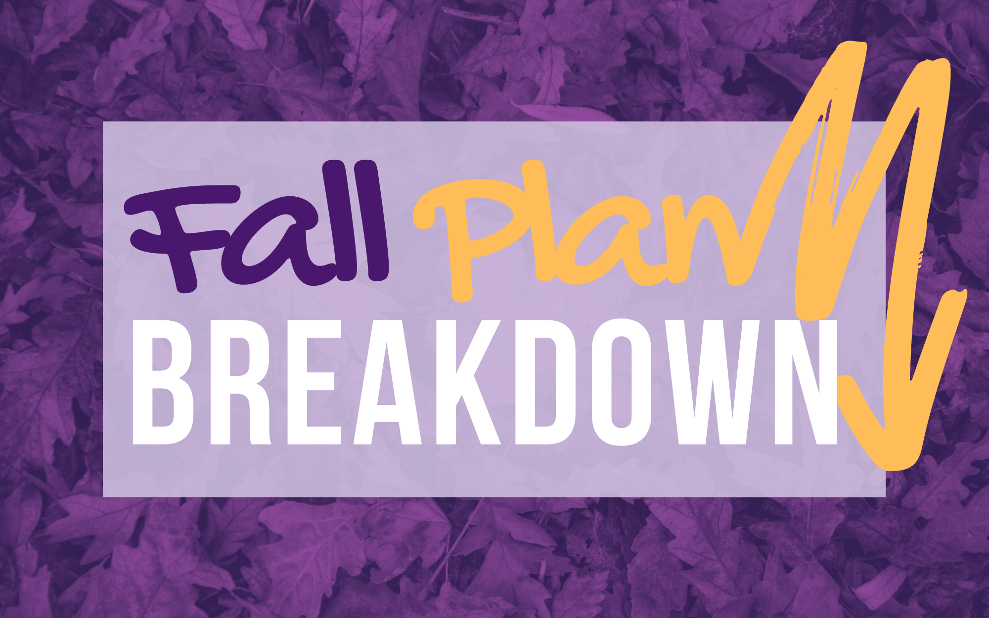 Graphic says Fall Plan Breakdown on a backdrop of leaves