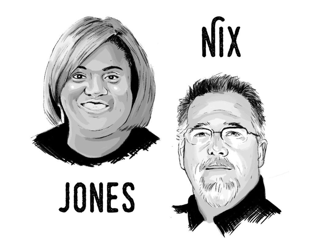 Illustration featuring Joyce Jones on left and Rusty Nix on right.