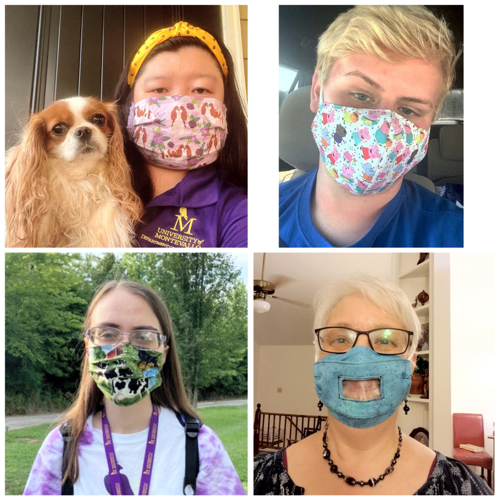 A college of four individuals wearing masks due COVID-19