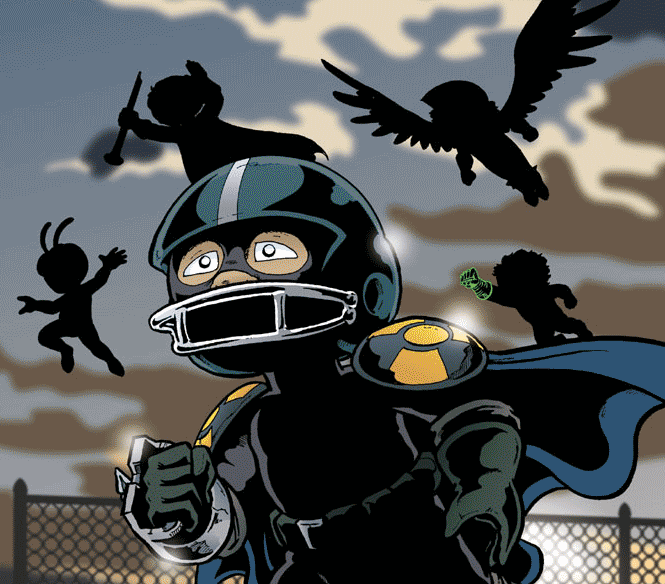 A child superhero running forward with several other child heroes silhouetted behind him.