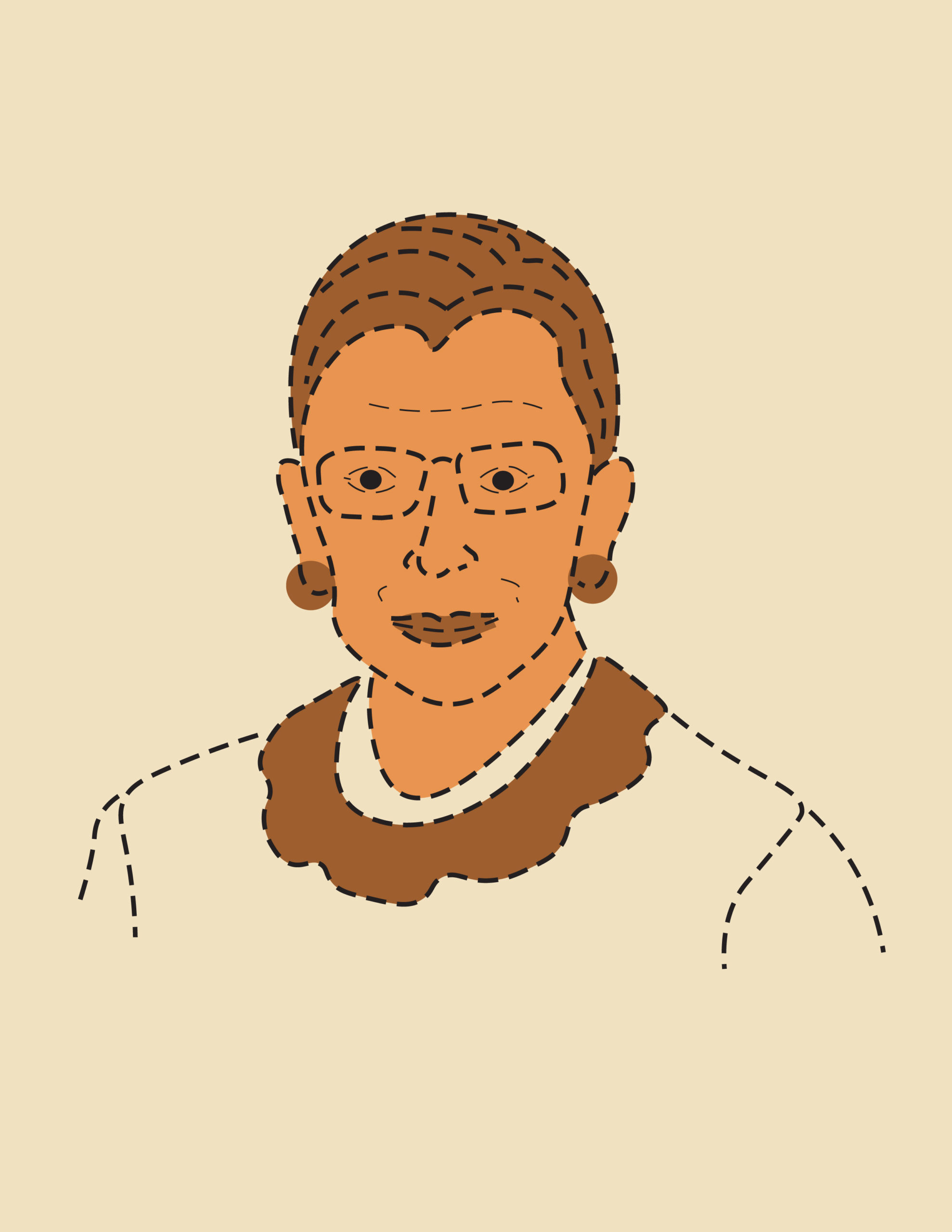 Graphic detailing a portrait of the late Ruth Bader Ginsburg.