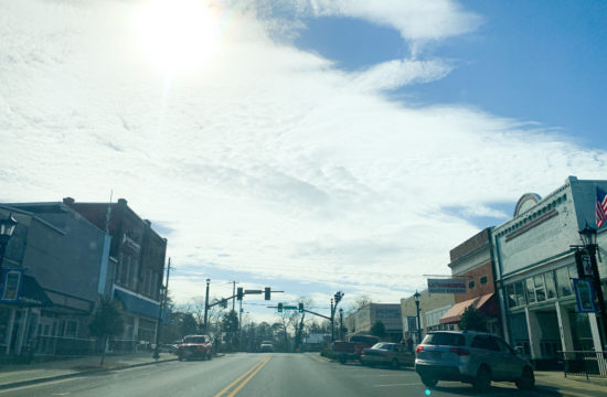 Picture of businesses on either side of Montevallo's main street.