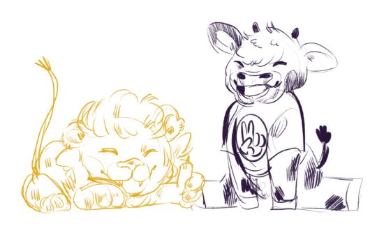 Gold lion and purple cow sitting side by side with playful expressions