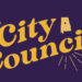 City Council in gold letters on purple background